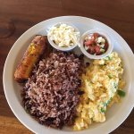 Nica Plate for breakfast - rice/beans, eggs with green peppers, plantains, pico de gallo, cheese