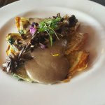 Spinach and mushroom crepe with mushroom sauce