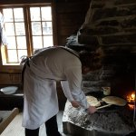 There was a man making lefse by the fire in one of the buildings. You could purchase a piece (30