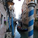 Gondolas and Bridge of Sighs in distance
