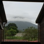 A view of the Arenal Volcano from the hotel (the summit is obscured by clouds).