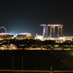 View from the exterior of the restaurant - Singapore at night!