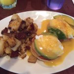 Cajun potatoes and veggie eggs benedict