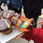 """dark side of the moon"" cupcake from Wanda's Pie in the Sky bakery. AMAZING!"