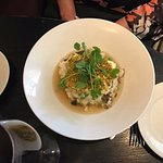 pistachio crusted halibut with mushroom risotto