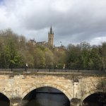 view of the Glasgow university, from Kelvingrove park