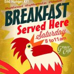 Breakfast served on Saturday from 8 am to 11 am.