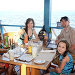 Outdoor dining with views of Frigate Birds, Tarpin, and Sharks!