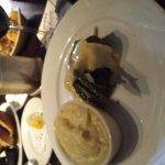 filet oscar style and garlic mashed potatoes