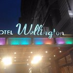 The front of the hotel is well lit up with vibrant colours with heaters installed.