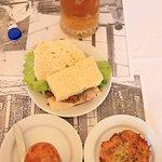 Sandwich, Rice cake, codfish pancake and beer