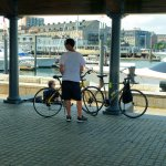 My son Martin and me cycled to Boston's waterfront
