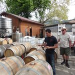 One of the Tedeschi brothers gives a tour of his winery. Steve, our Platypus driver, is behind h