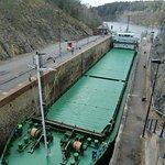 Freighter navigating modern locks