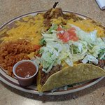 The Super Combo plate - with beef taco, relleno, tamale, enchilada, rice & beans