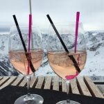 Cocktails on the terrace of the Ice Q restaurant .