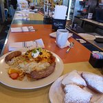 Breakfast at the Gumbo Diner at the counter.