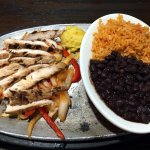 Sizzling Steak Fajitas (lunch portion) with rice and beans