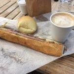 Cuban sandwich, Colombian bandebono, and coffee