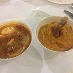 Sopa Castellana y patatas revolconas con torrezno