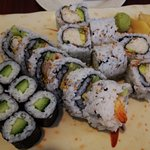 Combo A: 3 sushi rolls - California, cucumber and dynamite rolls