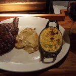 Ribeye with Poblano Au Gratin Potatoes and Creamed Corn.
