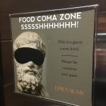 Food coma zone sign in elevator