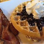 Waffle breakfast at Bryce Canyon restaurant