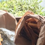 Food comes in a brown bag!