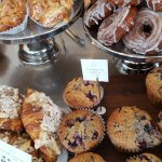Almond croissants, blueberry muffins, monkey bread and cruellers