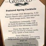 menu for spring cocktails