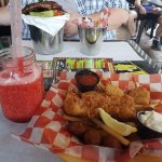 For me - Fish plate & Strawberry Daiquiri and for my boyfriend - Wings & Ribs plate