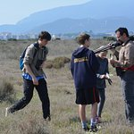 Marco explaining what happened to a bird we found in the marsh
