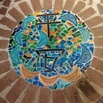 """Peace"" mosaic in front of twin bedrooms"