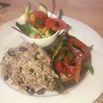Chicken of the bone rice and peas and lovely veg   Salamon with rice and peas,  salad and veg.
