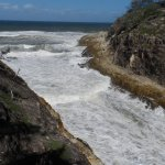 The power of the ocean at an inlet