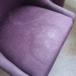 Stains on chairs and carpet.