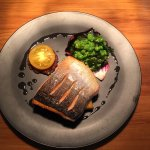 Seared Mt Cook Salmon with polenta & mushy peas