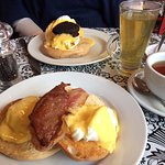 Eggs benedict at Boho with bacon and with black pudding.