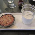 My favorite dessert - skillet chocolate chip cookie and a glass of milk.