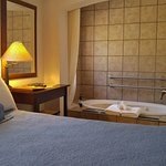 On the first floor, you have in-room hot mineral water available in the tub.