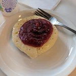 Crumpet with strawberry jam!