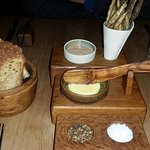 Complimentary fish and bread at The Hand and Flowers