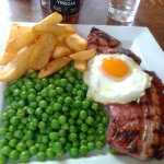 Gammon Steak, Fried Egg, Chips and Peas at The Fish Inn, Ringwood, Hampshire