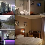 Vista de la habitación, sanitario, recepción y vista a la calle