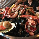Brilliant hot seafood platter. Exceptional professional and friendly service from every staff me