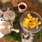 Noodles, sauce, and tea