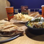 Quesadilla and Small Burrito Bowl with Chips & Queso to share