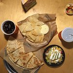 Quesadilla and Small Burrito Bowl with Chips & Queso to Share!