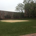 Dorms and a volleyball court on Central Campus.